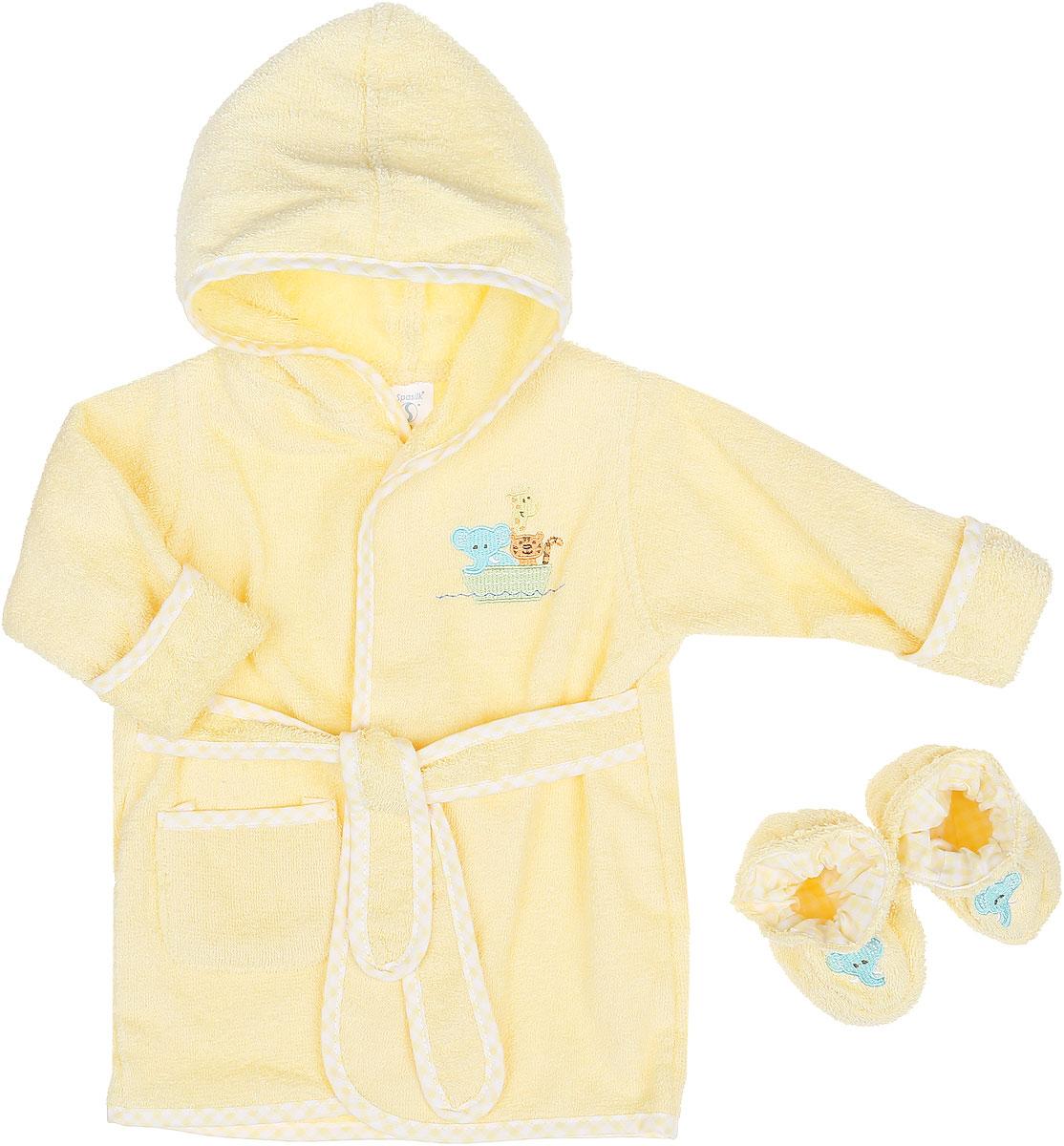 Комплект детский Spasilk Зверята: халат, пинетки, цвет: светло-желтый. BR ARK. Размер 0/9 месяцевBR ARKОчаровательный комплект одежды Spasilk Зверята состоит из халатика и пинеток. Комплект изготовлен из мягкой махровой ткани, которая отлично поглощает воду, массирует кожу, улучшая кровообращение, позволяет телу дышать. Изделие легкое и тактильно приятное. Уютный халат с капюшоном и длинными рукавами дополнен поясом на талии. На рукавах имеются декоративные отвороты. Спереди расположен накладной кармашек. Края изделия оформлены принтованной окантовкой. Модель украшена вышитой аппликацией в виде животных.На пинетках предусмотрена легкая хлопковая подкладка, оформленная принтом в клетку. Пинетки присборены на мягкие эластичные резинки для фиксации на ножках ребенка. Украшено изделие вышитой аппликацией в виде слоников. Такой комплект одежды станет идеальным дополнением к детскому гардеробу. Мягкий махровый халатик и удобные пинетки защитят кроху от охлаждения после водных процедур.
