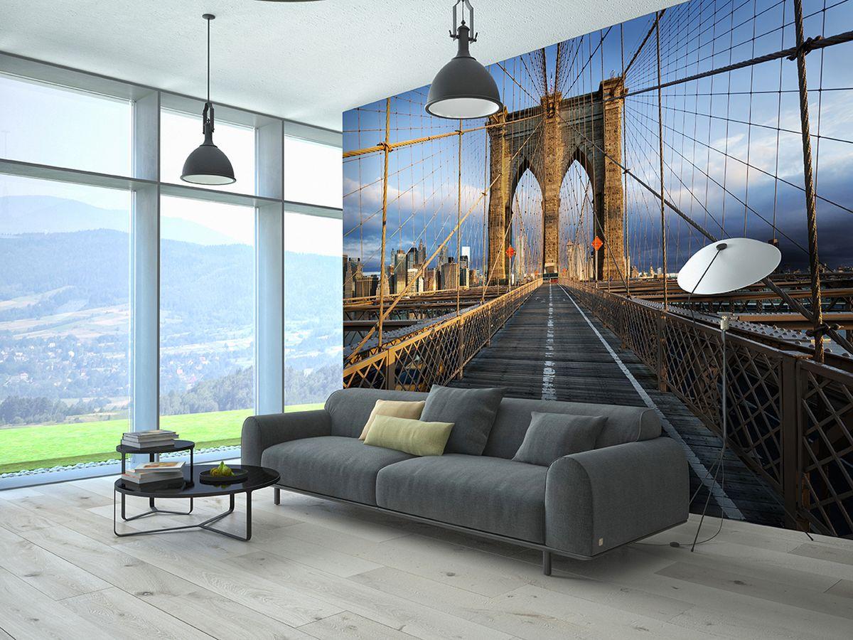 """Фотообои """"PosterMarket"""" представляют собой изображение Бруклинский моста, одного из самых известных символов современного Нью-Йорка, и позволят создать неповторимый облик помещения, в котором они размещены. Фотообои наносятся на стены одним большим полотном. Они не впитывают жир, грязь,  чернила, краски и пластилин.  Фотообои снова вошли в нашу жизнь, став модным направлением декорирования интерьера.  Выбрав правильную фактуру и сюжет изображения можно добиться невероятного эффекта """"живого присутствия""""."""