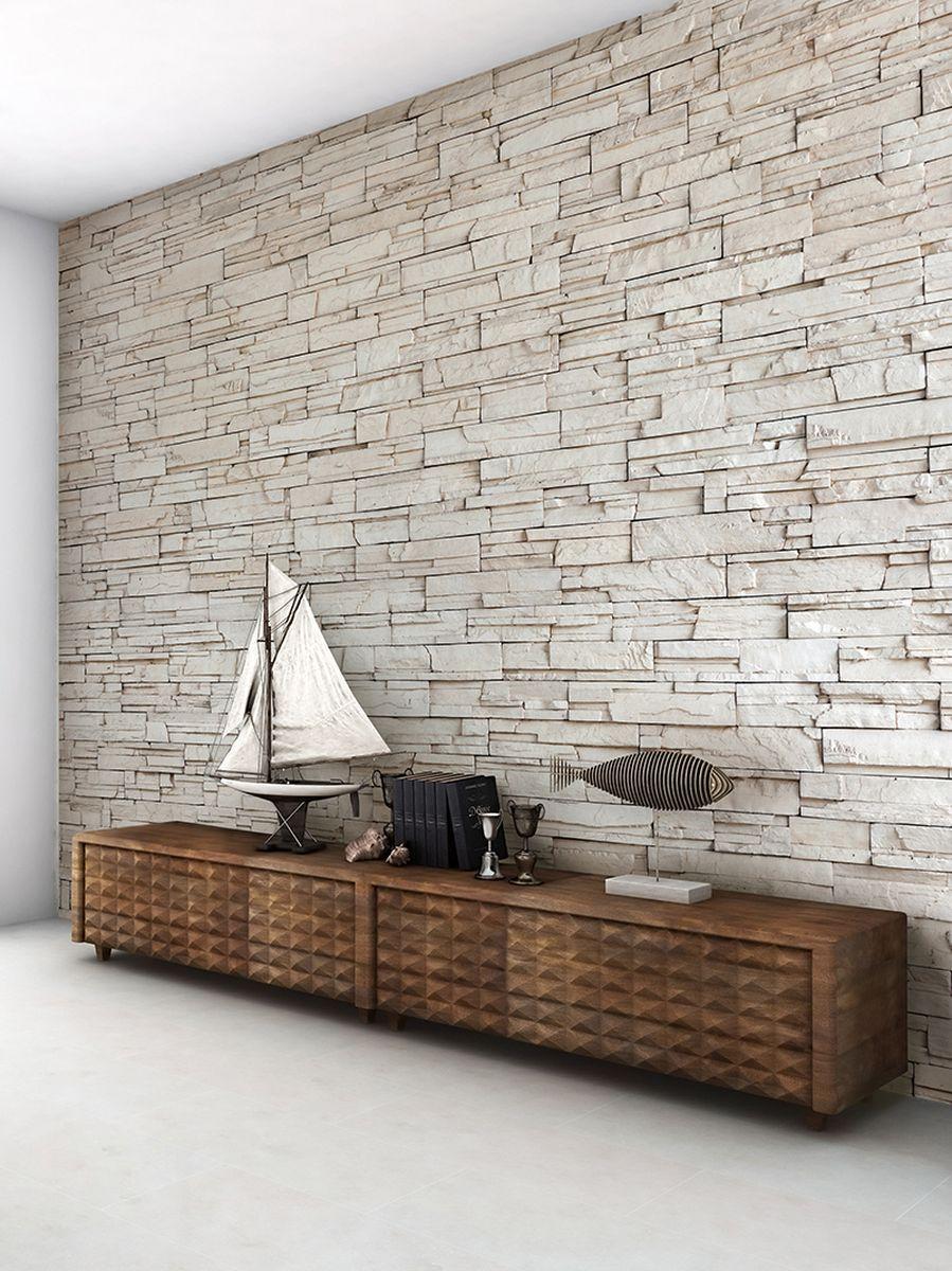 Фотообои PosterMarket Стена из белого камня, размер 254 х 184