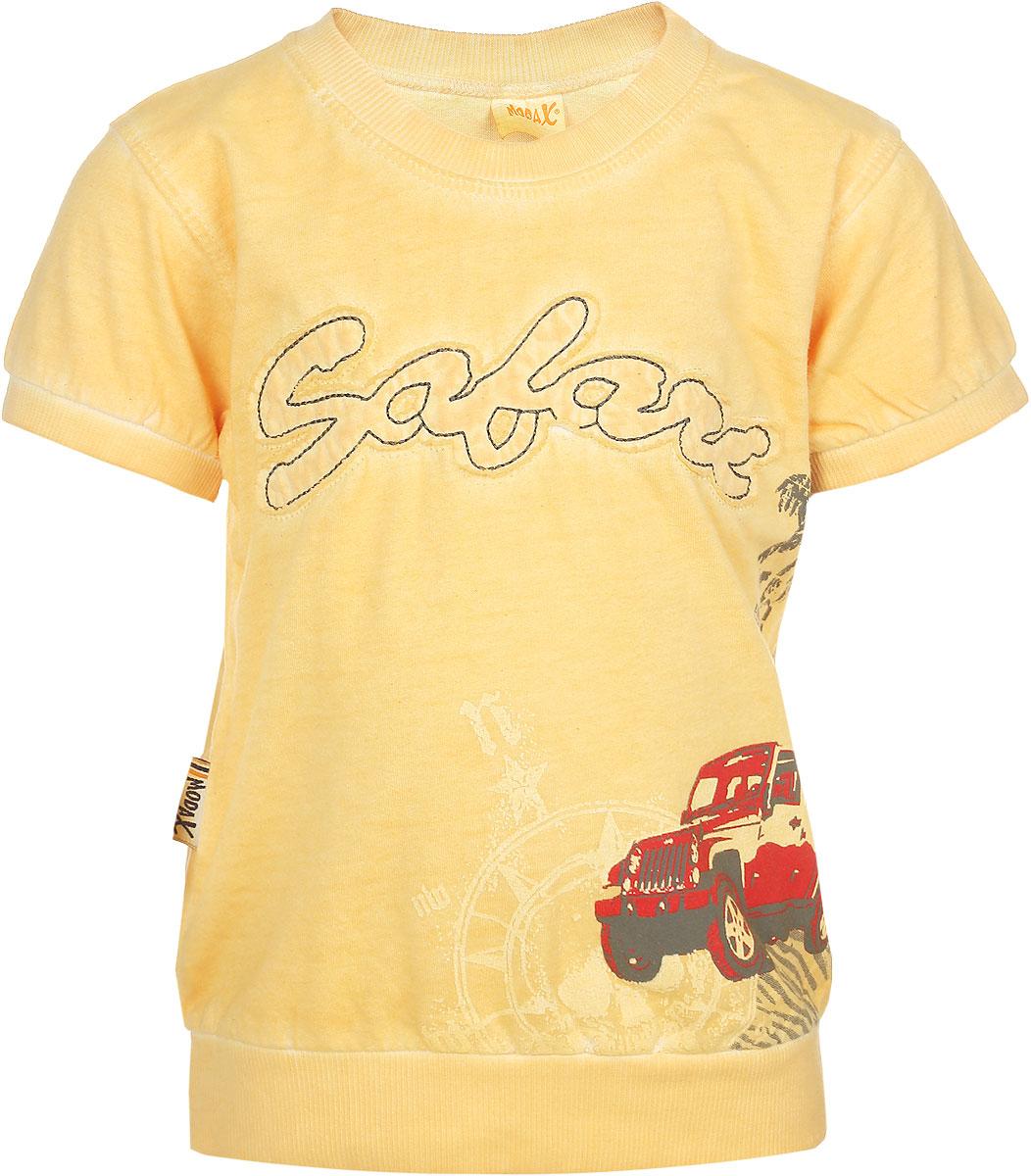 Футболка для мальчика Modax, цвет: желтый. 3055-2. Размер 923055-2Яркая футболка для мальчика Modax станет стильным дополнением к гардеробу маленького модника. Изготовленная из натурального хлопка, она необычайно мягкая, тактильно приятная, не сковывает движения ребенка и позволяет коже дышать, обеспечивая комфорт. Футболка с короткими рукавами имеет круглый вырез горловины, оформленный трикотажной резинкой. Края рукавов и низ изделия также дополнены трикотажными резинками. Модель украшена крупной нашивкой в виде надписи, а также принтом. Современный дизайн и расцветка делают эту футболку модным предметом детской одежды. В ней ваш ребенок будет чувствовать себя уютно, комфортно и всегда будет в центре внимания!