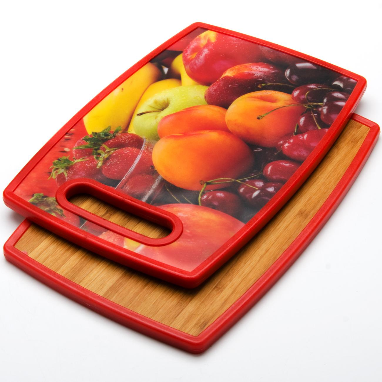 Доска разделочная Mayer & Boch, 37 х 23 х 1,2 см. 24157-4241574-4_кивиКухонная прямоугольная двусторонняя разделочная доска изготовлена из бамбука и пластика. Яркая сторона с рисунком - это антибактериальное пластиковое покрытие с декором, вторая сторона доски из бамбука - экологичный натуральный материал. Идеальна для резки керамическим ножом.Размер: 37 х 23 х 1,2 см.