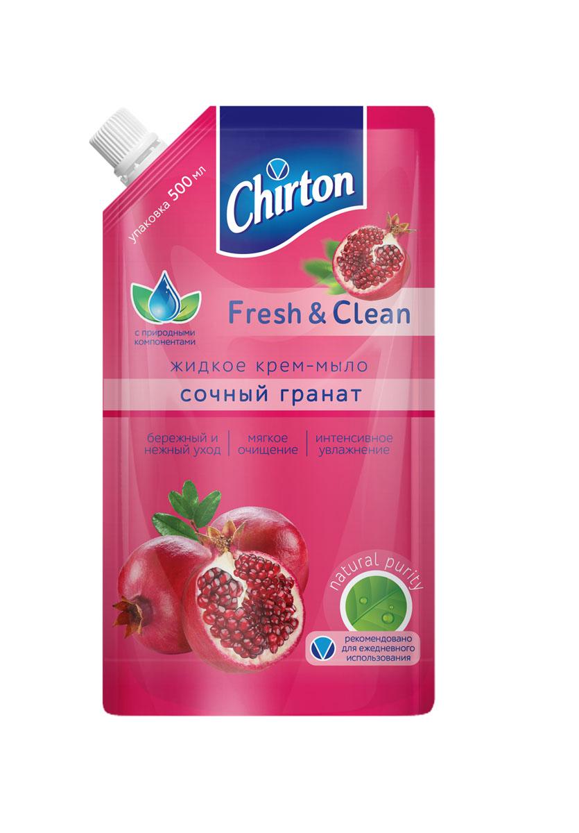"""Крем-мыло жидкое Chirton """"Сочный гранат"""", сменный блок, 500 мл"""