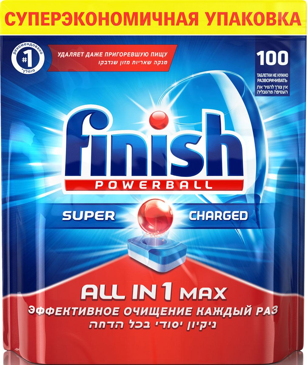 Таблетки для посудомоечной машины Finish Powerball All in 1 Max, 100 шт моющее средство для посудомоечной машины finish all in 1 max power pure 25табл