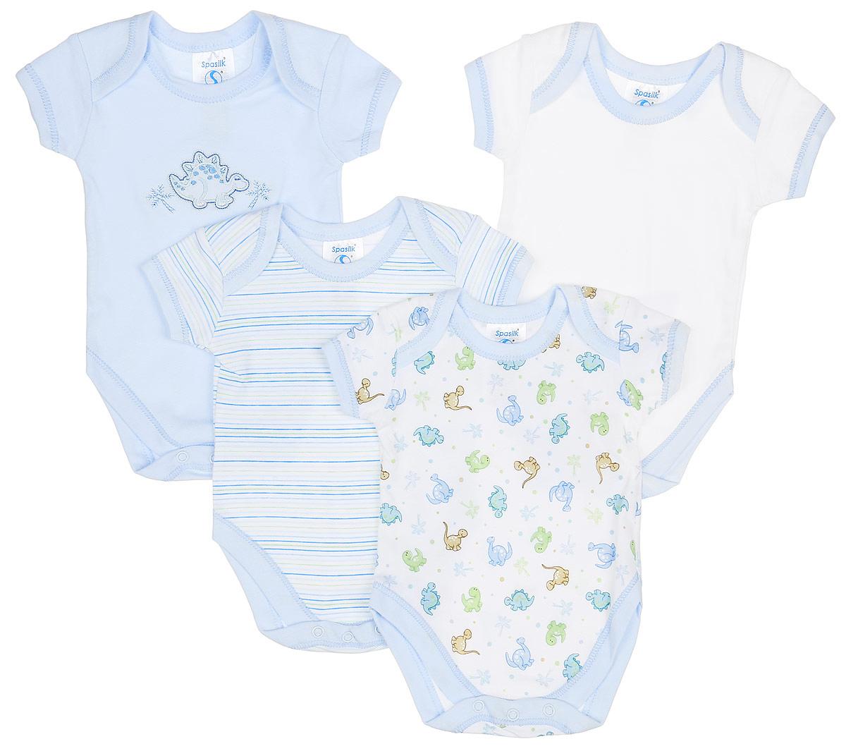 Боди для мальчика Spasilk, цвет: белый, голубой, зеленый, 4 шт. ON S4HS2. Размер XXXL, 24 месяца spasilk spasilk комплект одежды боди с коротким рукавом 4 шт голубой белый