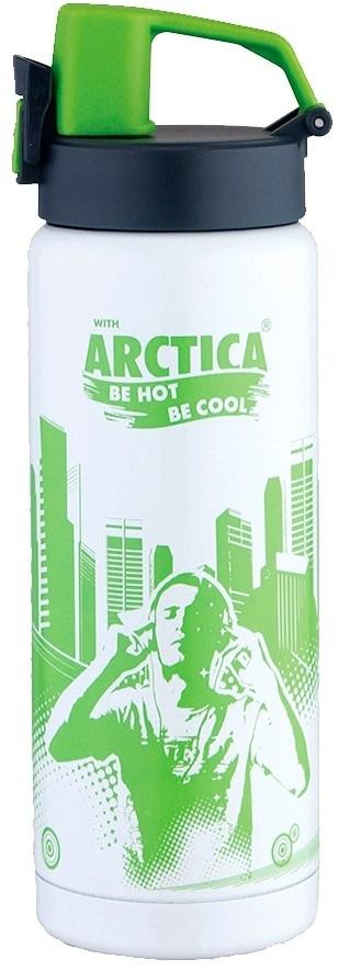 Термос Арктика Сититерм, цвет: салатовый, белый, 0,5 л702-500Термос Арктика Сититерм, изготовленный из высококачественной нержавеющей стали, вмещает в себя 500 мл жидкости. Термос отличается ярким внешним видом, компактной формой, напоминающей спортивную бутыль, которая идеально подойдет как для велосипедного бутылкодержателя, так и для автомобильного подстаканника. Термос сохраняет температуру горячих или холодных продуктов до 8 часов. Технологичная система открывания надежно защитит содержимое от случайного открытия и в то же время позволит владельцу открыть крышку одной рукой.