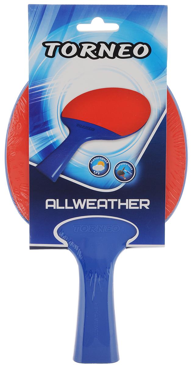 Ракетка для настольного тенниса Torneo AllweatherTI-BPL100Ракетка для настольно тенниса Torneo Allweather, выполненная из высококачественного пластика с резиновым покрытием, обладает ударопрочностью и влагостойкостью. Она удобно лежит в руке и гарантирует хорошее чувство мяча и наиболее комфортную игру. Такая ракетка прекрасно подойдет любителям и начинающим игрокам. Форма рукоятки: расклешенная (коническая).Вращение: 26.Скорость: 44.Контроль: 92.