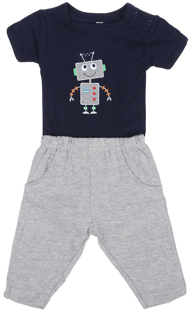 Комплект для мальчика Hudson Baby: боди, штанишки, цвет: серый, темно-синий. 50459. Размер S, 0-3 месяца боди и песочники hudson baby боди собачка 3 шт