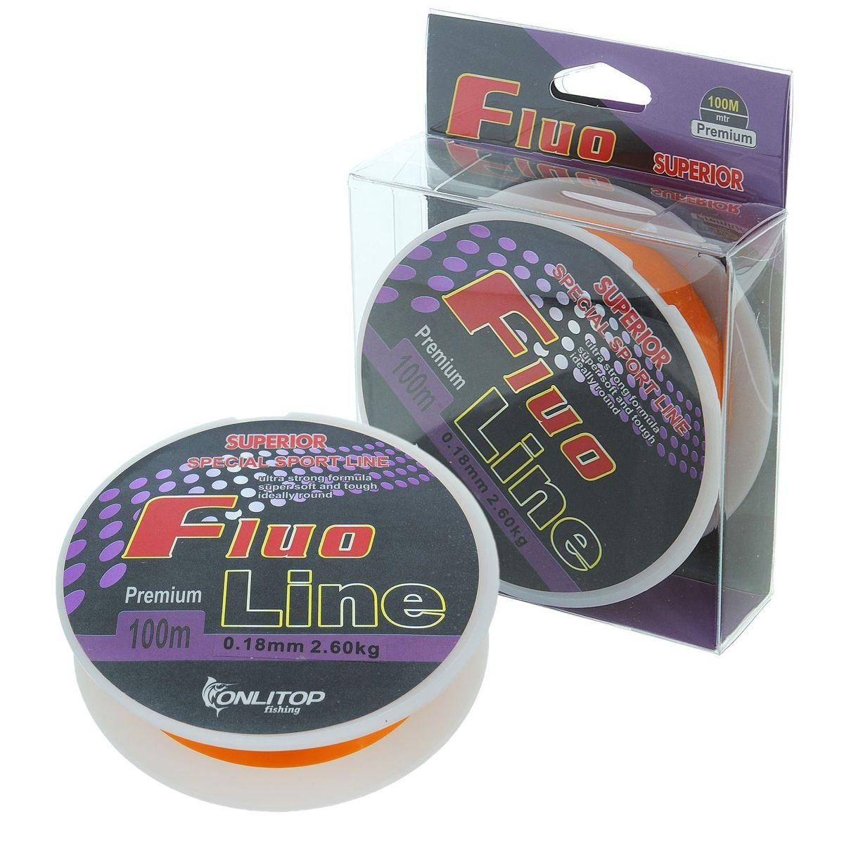 Леска Onlitop Fluo Line, цвет: оранжевый, 100 м, 0,18 мм, 2,6 кг