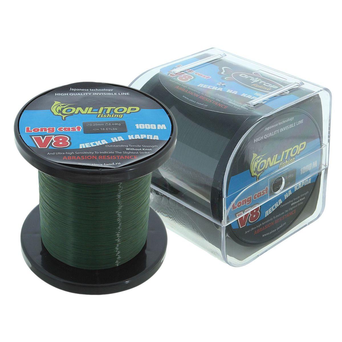 Леска Onlitop V8, на карпа, цвет: темно-зеленый, 1000 м, 0,25 мм, 8,44 кг1232692Во время технологического процесса волокна сплетаются и специально разработанным способом сплавляются в единое целое. В ходе такой обработки леска становится прочнее, чем совокупность составляющих ее волокон. Таким образом получается оптимальный синтез монофильной и плетеной лески.