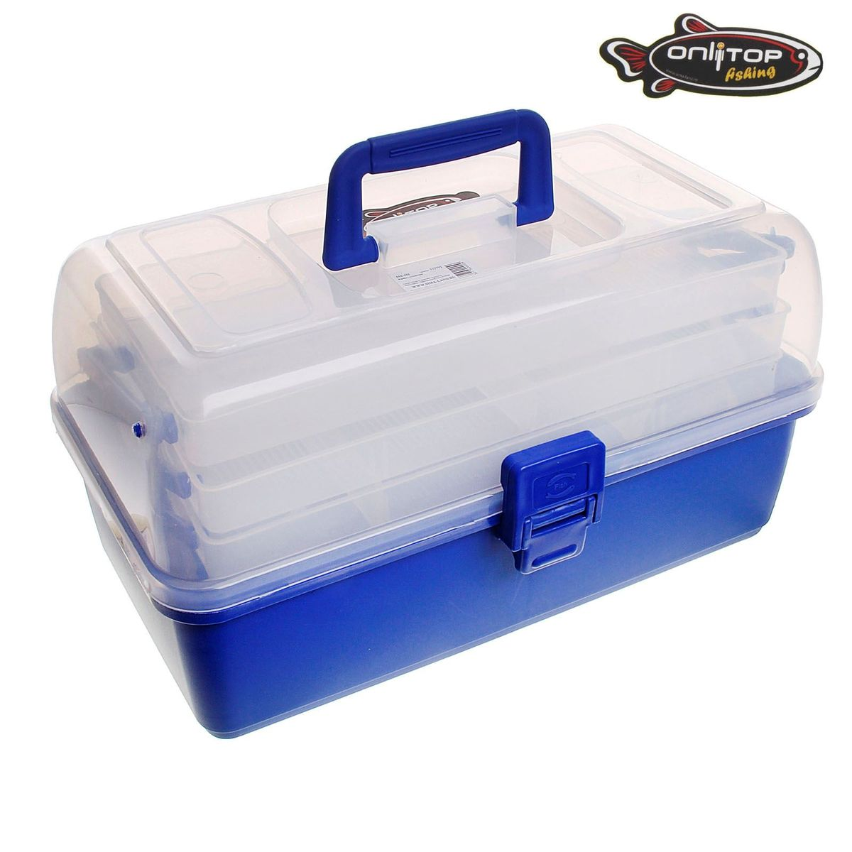 Коробка для крючков и насадок Onlitop, трехъярусная, цвет: синий, 17 х 34 х 20 см