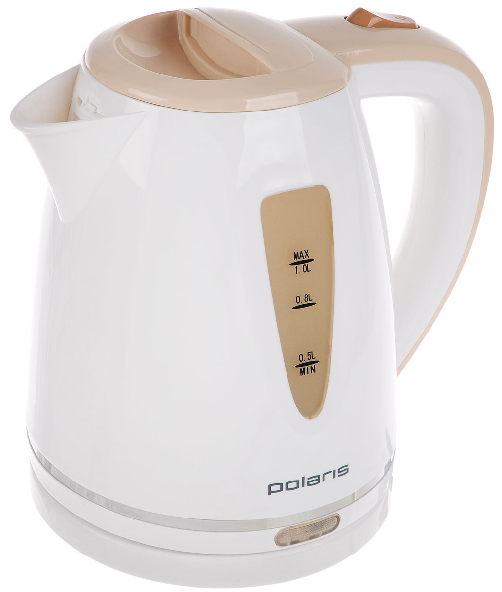 Polaris PWK 1038C, White Beige электрический чайникPWK 1038CPolaris PWK 1038C - компактный и недорогой электрический чайник, выполненный из качественного пластика. Онустанавливается на подставку-базу с электро-разъёмом и может вращаться на ней на 360°, что удобно при егоэксплуатации. Чайник оснащен индикаторной лампочкой, двусторонней шкалой уровня воды, и функциейавтоматического выключения при закипании и снятии с подставки. А функция защиты от перегрева делает егоабсолютно безопасным в быту. Съемный фильтр позволит без труда промыть его от накипи.
