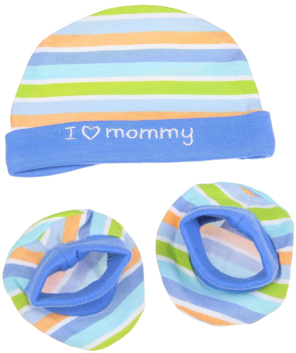 Комплект для мальчика Luvable Friends Люблю маму: шапочка, пинетки, цвет: голубой, оранжевый, салатовый. 34545. Размер 55/67, 0-6 месяцев34545Комплект для мальчика Luvable Friends Люблю маму состоит из шапочки и пинеток. Изделия изготовлены из мягкого хлопка, приятны на ощупь, хорошо пропускают воздух.Шапочка необходима любому младенцу, она защищает еще не заросший родничок, щадит чувствительный слух малыша, прикрывая ушки, а также предохраняет от теплопотерь. На шапочке предусмотрен декоративный отворот, украшенный вышитой надписью. Пинетки дополнены мягкой трикотажной вставкой для удобной фиксации на ножке ребенка. Комплект оформлен принтом в полоску. В таком комплекте одежды малышу будет уютно и комфортно!