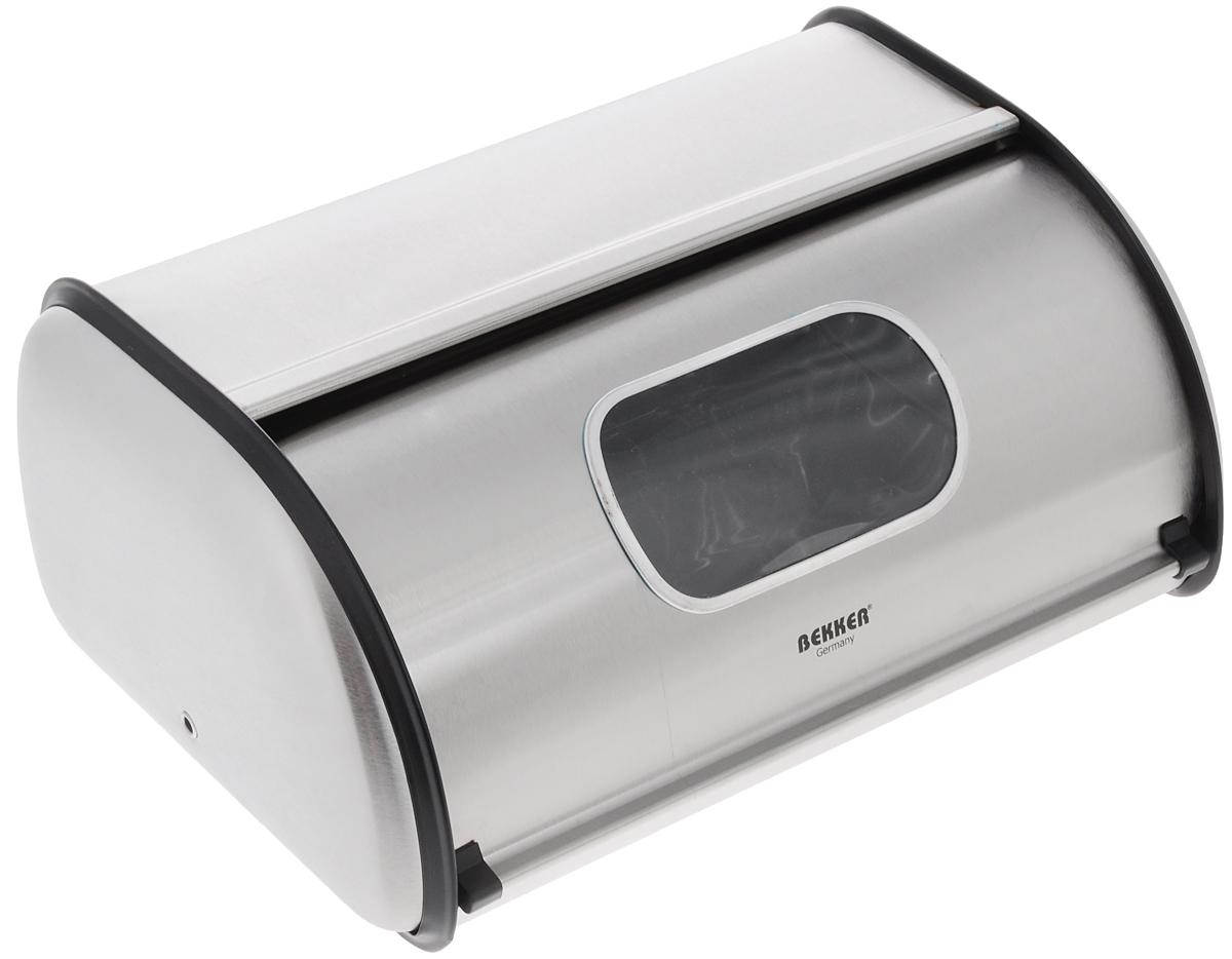 """Хлебница Bekker """"Koch"""" изготовлена из высококачественной нержавеющей стали с матовой полировкой. Крышка плотно и легко закрывается. На изделии имеется небольшое окошко, выполненное из стекла.Стильная хлебница прекрасно впишется в интерьер кухни и надолго сохранит ваш хлеб вкусным и свежим.Размер хлебницы: 35,5 х 23 х 14,5 см."""
