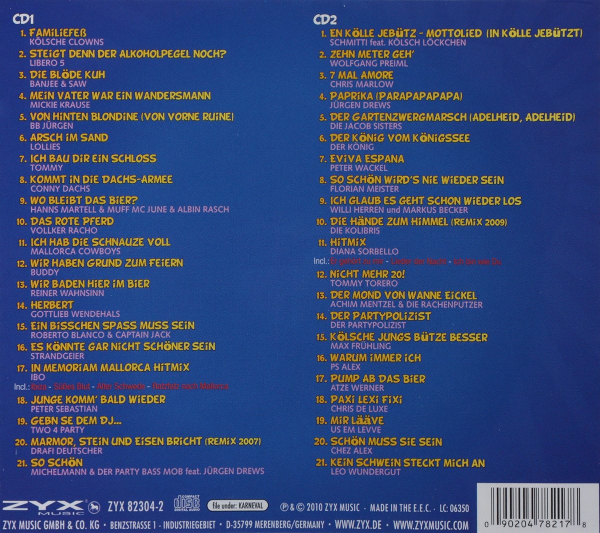 Karneval Stimmungs Hits (2 CD) ZYX Music