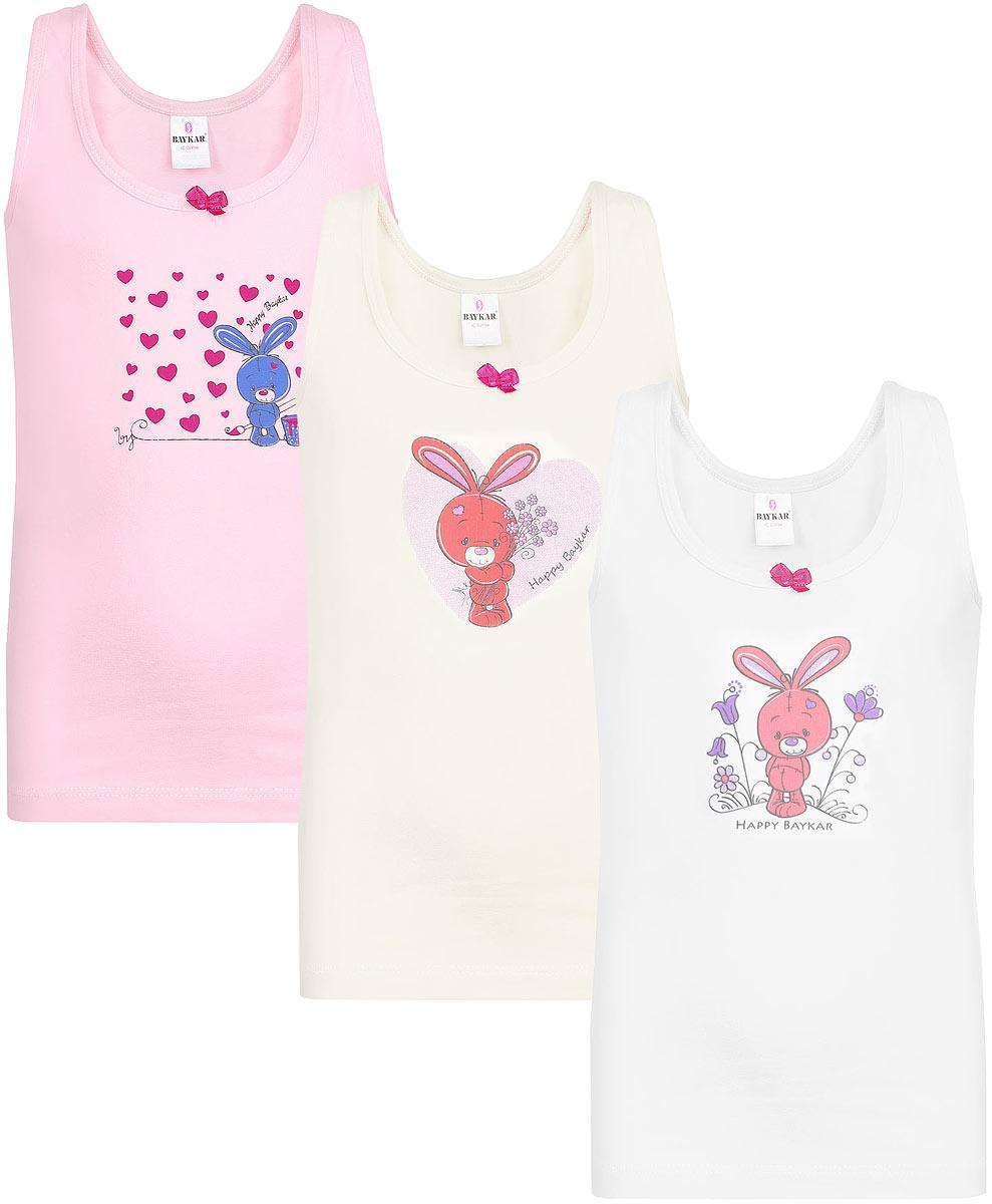 Майка для девочки Baykar, цвет: розовый, молочный, белый, 3 шт. N4372-22. Размер 86/92 baykar baykar майка для мальчика серая
