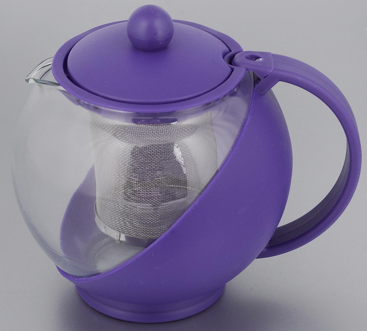 Чайник заварочный Mayer & Boch, с фильтром, цвет: прозрачный, фиолетовый, 750 мл. 2573825738_фиолетовыйЗаварочный чайник Mayer & Boch изготовлен из жаропрочногостекла и полипропилена. Чай в таком чайнике дольшеостается горячим, а полезные и ароматическиевещества полностью сохраняются в напитке. Чайник оснащенфильтром из нержавеющей стали и крышкой.Простой и удобный чайник поможет вам приготовить крепкий,ароматный чай.Диаметр чайника (по верхнему краю): 8 см. Высота чайника (без учета крышки): 11,5 см. Высота фильтра: 7,2 см.