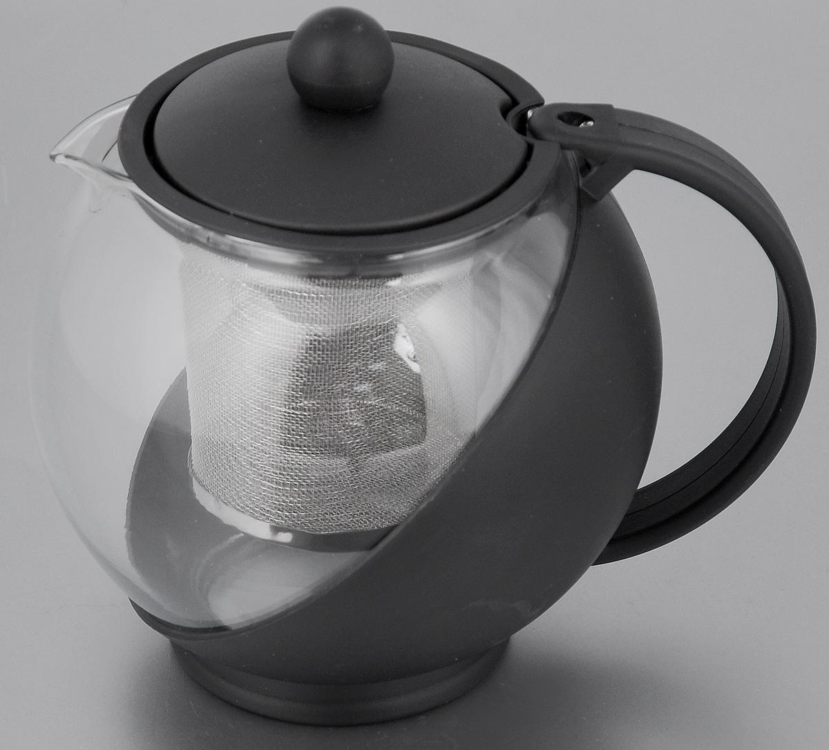 Чайник заварочный Mayer & Boch, с фильтром, цвет: прозрачный, черный, 750 мл. 25738