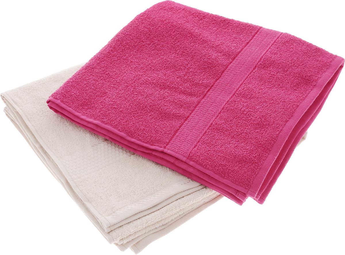 Набор махровых полотенец Aisha Home Textile, цвет: бежевый, малиновый, 70 х 140 см, 2 шт набор махровых полотенец issimo home jacquelyn цвет бежевый 30 x 50 см 4 шт