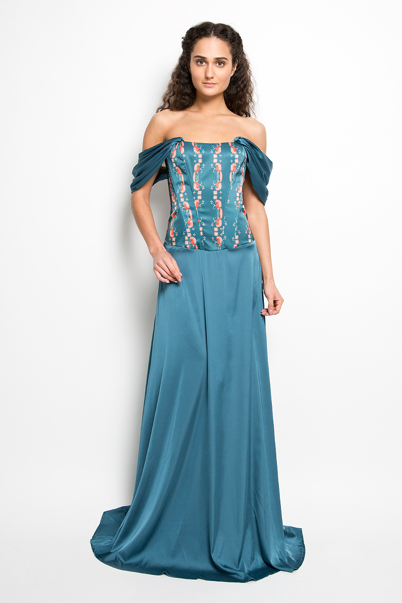 Платье Анна Чапман, цвет: темно-бирюзовый, оранжевый, бежевый. P38A-B8-1. Размер 42P38A-B8-1Великолепное платье Анна Чапман, выполненное из нежнейшей ткани, покорит вас с первого взгляда. Застегивается модель на застежку-молнию. Верх платья, выполненный в виде корсета, идеально облегает фигуру. Платье имеет пришивную расклешенную юбку-макси. Модель оснащена двумя объемными декоративными бретелями, которые ниспадают на плечи. Верхняя часть платья украшена изображением лошадей. Такое платье станет стильным дополнением к вашему гардеробу.