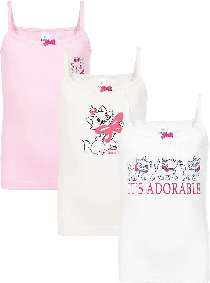 Майка для девочки Baykar, цвет: молочный, розовый, белый, 3 шт. N4272-22. Размер 86/92N4272-22Майка для девочки Baykar выполнена из эластичного хлопка. Она мягкая и приятная на ощупь, не сковывает движения и позволяет коже дышать, обеспечивая комфорт.Модель с круглым вырезом горловины имеет тонкие бретельки. Вырез горловины дополнен эластичной бейкой.В комплект входят три майки разных цветов. Каждая модель оформлена ярким принтом и украшена атласным бантиком.Майка станет отличным дополнением к детскому гардеробу!