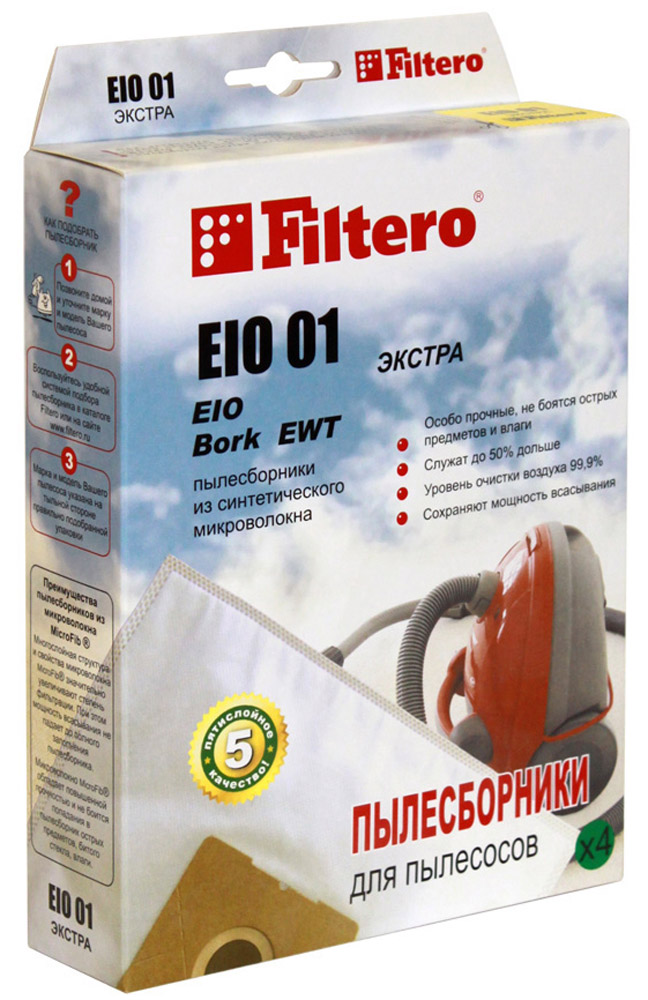Filtero EIO 01 Экстра мешок-пылесборник 4 шт neolux sm 01 пылесборник из пятислойного микроволокна 4 шт микрофильтр