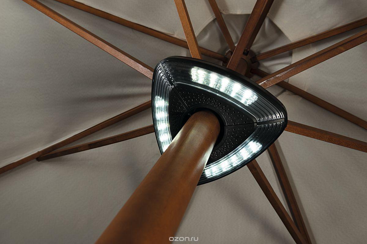 Светильник под зонт Gardman, на батарейках18117Светильник под зонт на батарейках идеально подходит для создания уютной атмосферы для встреч с друзьями вечером на природе. Светильник выполнен из высококачественного пластика в современном дизайне. Светильник работает от 2 батареек АА (не входят в комплект), подключение к электросети не требуется, удобно крепится на стойку зонта.Крепление на столбиках диаметром от 3,5 до 4,5 см. 15 светодиодов белого цвета.