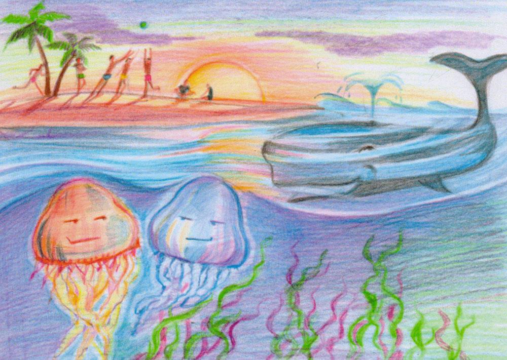 Открытка Островpw0045Дизайнерская открытка. На лицевой стороне находится изображение экзотического острова. Рисунок, цветные карандаши.Автор рисунка - Анастасия Панкова.Размер открытки: 10.5 х 15 см.