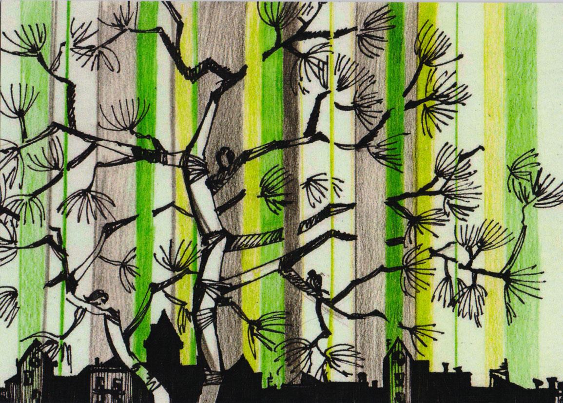 Дизайнерская открытка.  На лицевой стороне находится изображение города. Набросок, цветные карандаши. Автор рисунка - Анастасия Панкова. Размер открытки: 10.5 х 15 см.