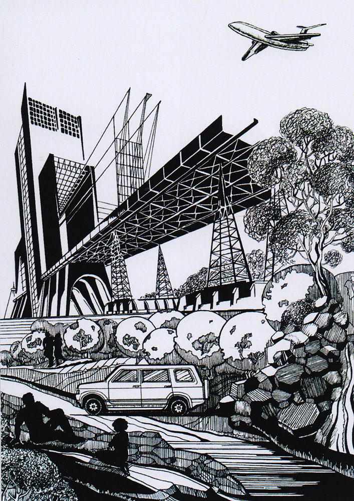 Дизайнерская открытка.  На лицевой стороне находится изображение пикника в пределах мегаполиса. Набросок, скетч. Автор рисунка - Анастасия Панкова. Размер открытки: 10.5 х 15 см.
