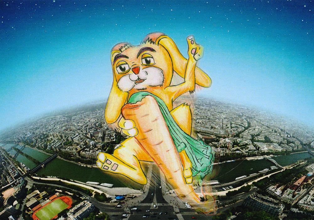 Дизайнерская открытка. На лицевой стороне находится изображение зайца, летящего над городом. Набросок-скетч. Автор рисунка - Роман Рощин. Размер: 10.5 х 14.7 см.