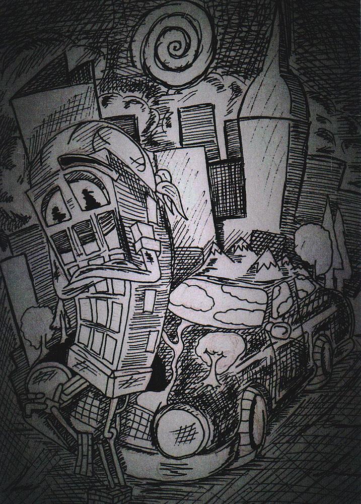 Открытка Цивилизацияpw0039Дизайнерская открытка. На лицевой стороне находится собирательный образ современной цивилизации. Набросок, скетч.Автор рисунка - Роман Рощин.Размер открытки: 10.5 х 15 см.