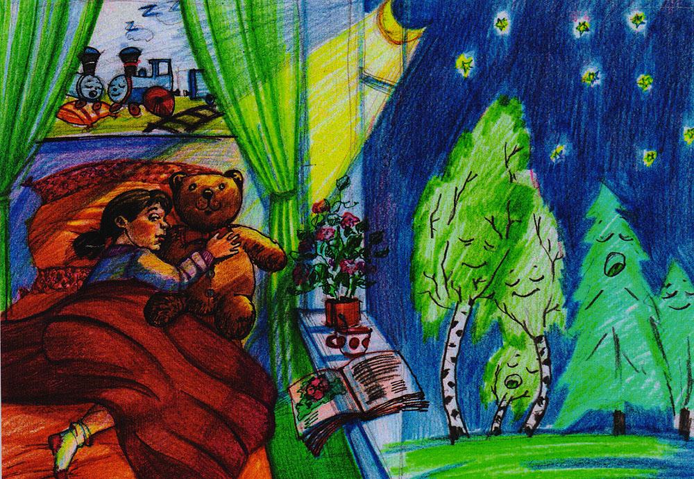 Дизайнерская открытка. На лицевой стороне находится изображение ребенка. Набросок скетч. Автор рисунка - Анастасия Панкова. Размер: 10.5 х 14.7 см.