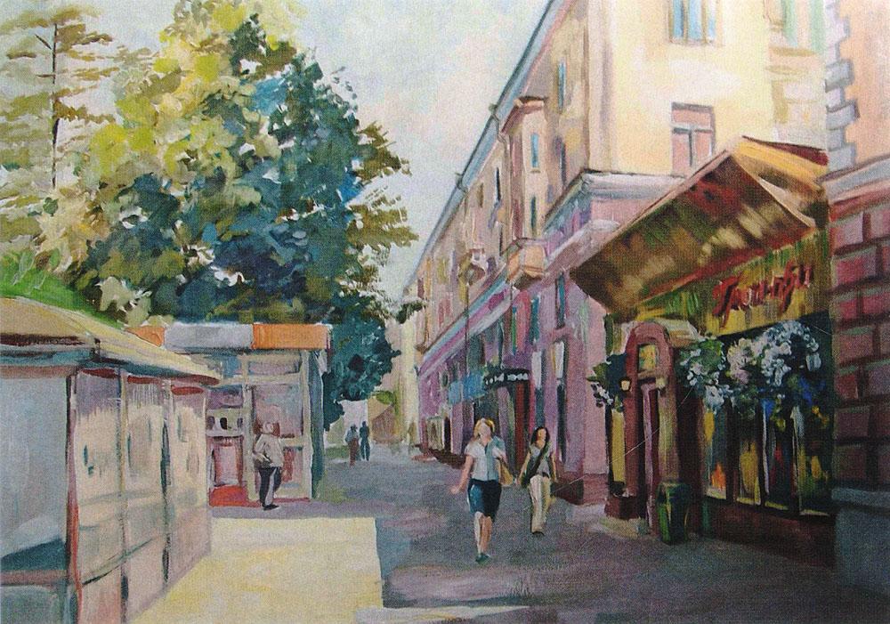 Открытка ПолденьКО-03Дизайнерская открытка.На лицевой стороне находится изображение одной из улиц города Санкт-Петербурга. Работа краской. Автор рисунка - Анастасия Панкова. Размер открытки: 10.5 х 15 см.