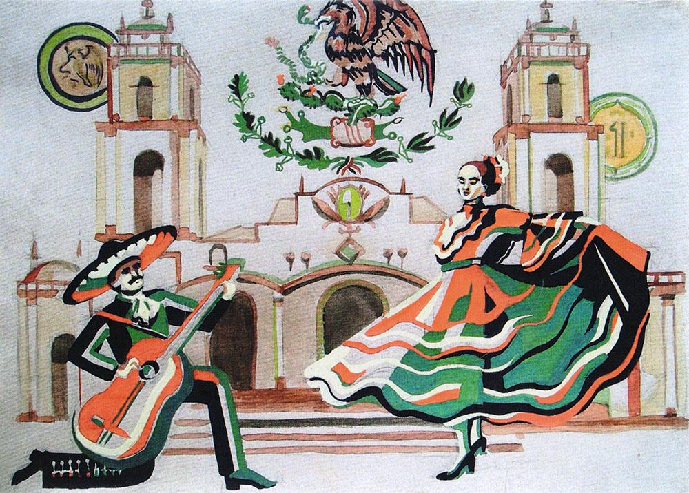 Серенада. Открыткаpw0042Дизайнерская открытка.На лицевой стороне находится изображение испанского квартала. Работа краской.Автор рисунка - Анастасия Панкова.Размер: 10.5 х 14.7 см.