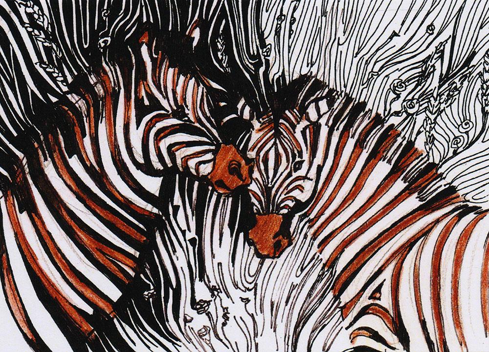 Открытка Африкаpw0049Дизайнерская открытка. На лицевой стороне находится изображение двух зебр. Набросок, цветные карандаши.Автор рисунка - Анастасия Панкова.Размер открытки: 10.5 х 15 см.