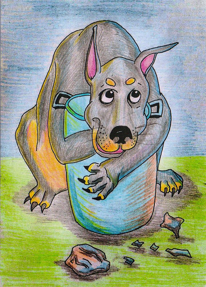 Дизайнерская открытка. На лицевой стороне находится изображение большой собаки. Набросок скетч. Автор рисунка - Роман Рощин. Размер: 14.7 х 10.5 см.