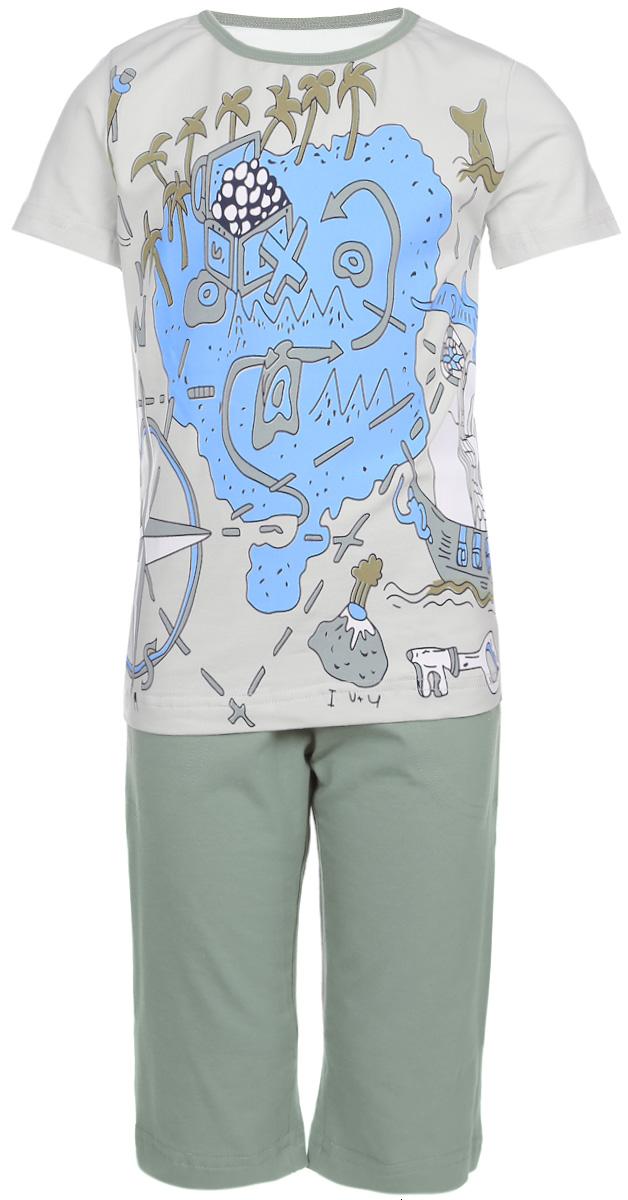 Пижама для мальчика Baykar, цвет: серо-зеленый, голубой. N9077113-22. Размер 98/104N9077113-22Мягкая пижама для мальчика Baykar, состоящая из футболки и шорт, идеально подойдет ребенку для отдыха и сна. Модель выполнена из эластичного хлопка, очень приятная к телу, не сковывает движения, хорошо пропускает воздух.Футболка с круглым вырезом горловины и короткими рукавами оформлена крупным принтом спереди. Вырез горловины дополнен бейкой контрастного цвета.Удлиненные шорты на талии имеют мягкую резинку, благодаря чему они не сдавливают животик ребенка и не сползают. Спереди расположены два втачных кармана.В такой пижаме ребенок будет чувствовать себя комфортно и уютно!
