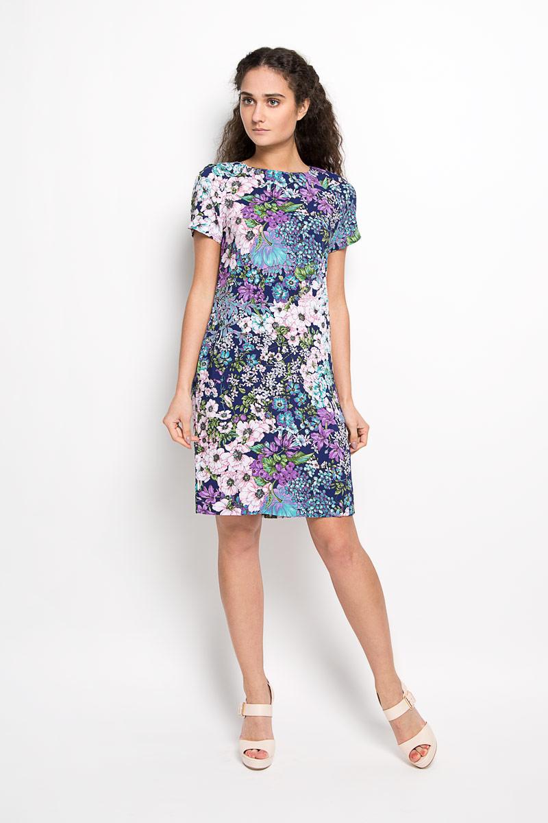 Платье F5, цвет: темно-синий, мультиколор. 160207_13838. Размер XS (42)160207_13838Платье F5 идеально подойдет для вас и станет стильным дополнением к вашему гардеробу. Выполненное из 100% вискозы, оно очень приятное на ощупь, не сковывает движений и хорошо вентилируется.Модель с круглым вырезом горловины и короткими рукавами-реглан оформлена оригинальным цветочным принтом.Такое платье поможет создать яркий и привлекательный образ, в нем вам будет удобно и комфортно.