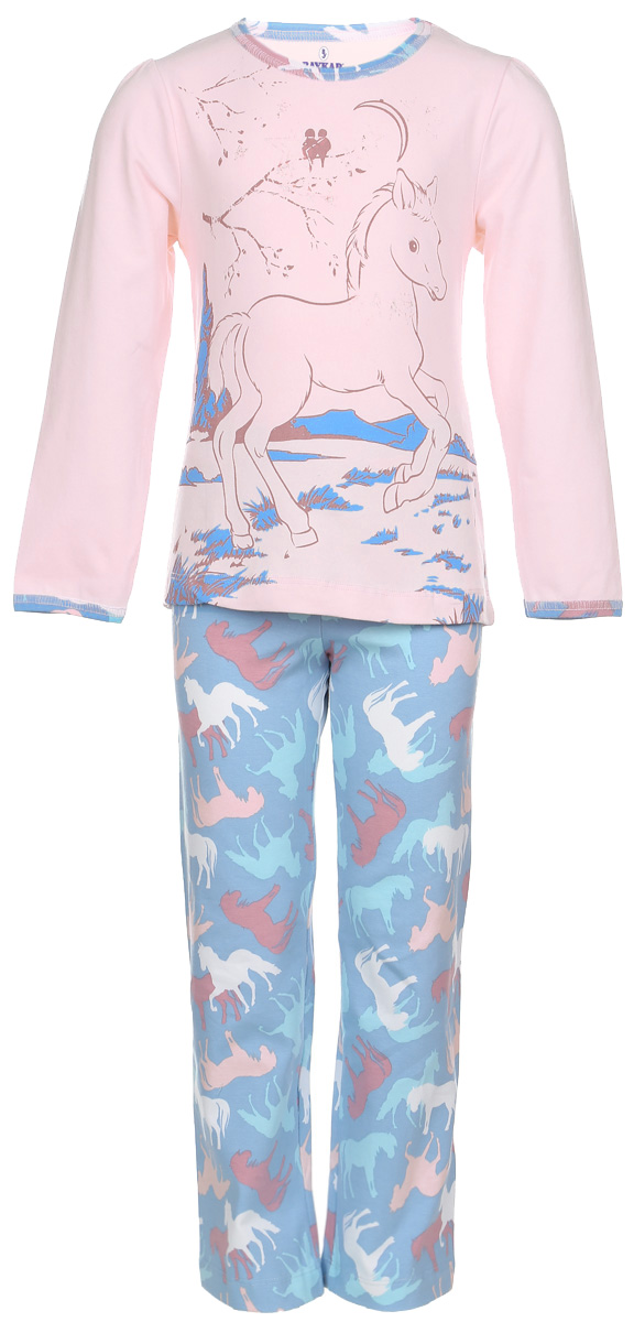 Пижама для девочки Baykar, цвет: светло-розовый, голубой, белый. N9033-5. Размер 116/122N9033-5Мягкая пижама для девочки Baykar, состоящая из футболки с длинным рукавом и брюк, идеально подойдет ребенку для отдыха и сна. Модель выполнена из эластичного хлопка, очень приятная к телу, не сковывает движения, хорошо пропускает воздух.Футболка с круглым вырезом горловины и длинными рукавами-фонариками украшена принтом с изображением лошадки, а также блестящим напылением. Вырез горловины и края рукавов оформлены принтованной окантовкой. Плоские эластичные швы изделия обеспечивают комфорт и не вызывают раздражений.Брюки на талии имеют мягкую резинку, благодаря чему они не сдавливают животик ребенка и не сползают. Изделие оформлено принтом с изображением лошадей по всей поверхности.В такой пижаме маленькая принцесса будет чувствовать себя комфортно и уютно!