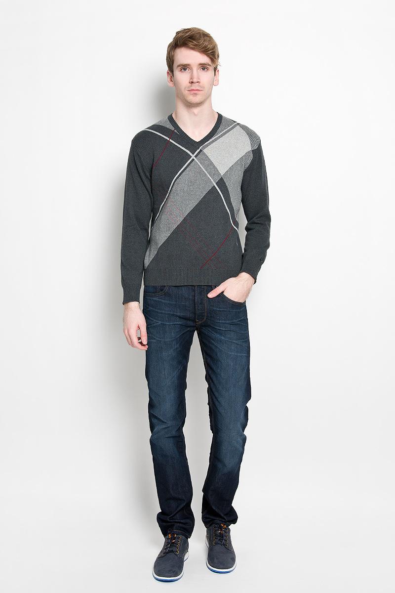 Джемпер мужской Karff, цвет: темно-серый меланж. 88001-02. Размер L (52) пуловер мужской karff цвет синий бордовый черный 88004 01 размер xxl 56