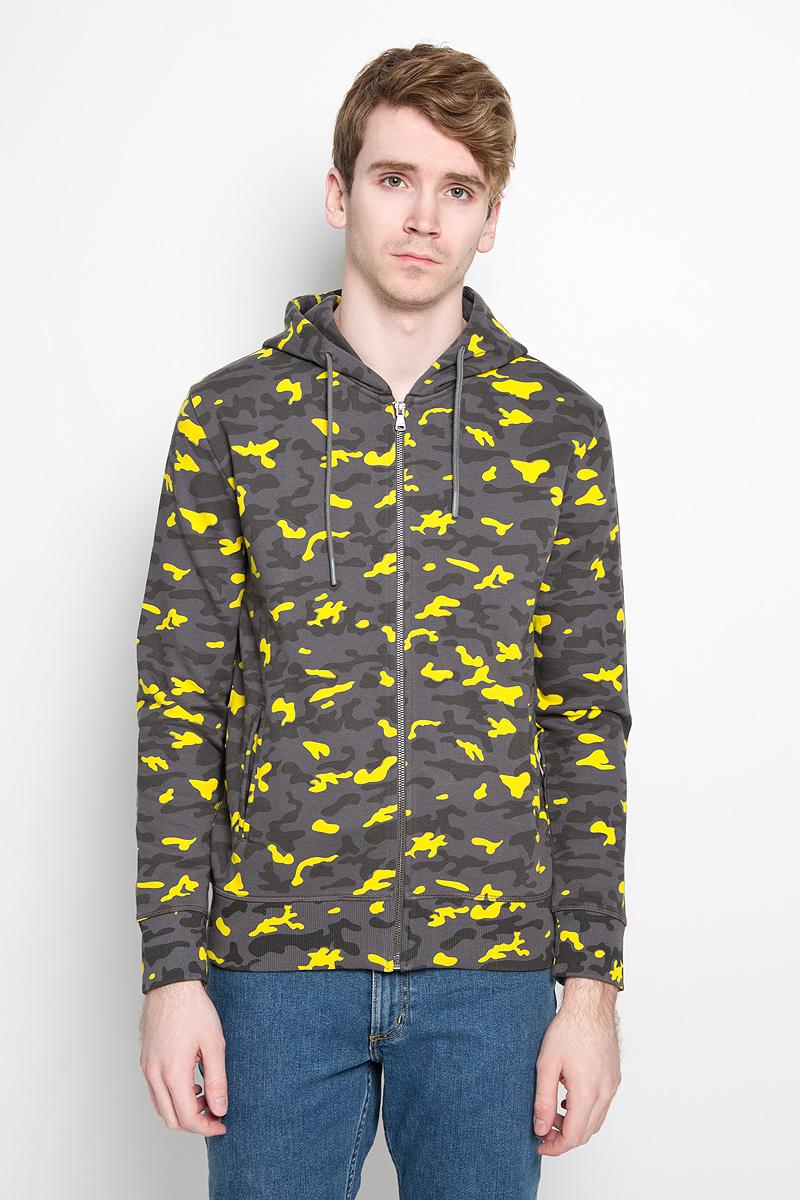 Купить Толстовка мужская Calvin Klein Jeans, цвет: темно-серый, желтый. J3IJ303874_0680. Размер M (46/48)