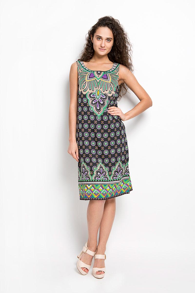 Платье Finn Flare, цвет: черный, мультиколор. S16-14080. Размер S (44)S16-14080Оригинальное платье Finn Flare станет ярким и стильным дополнением к вашему гардеробу. Изделие выполнено из 100% вискозы на тонкой подкладке из натурального хлопка, приятное к телу, не сковывает движения и хорошо вентилируется.Модель с круглым вырезом горловины и без рукавов застегивается на потайную застежку-молнию в левом боковом шве. По всей длине изделие оформлено оригинальным орнаментом. Это эффектное платье поможет создать привлекательный женственный образ.