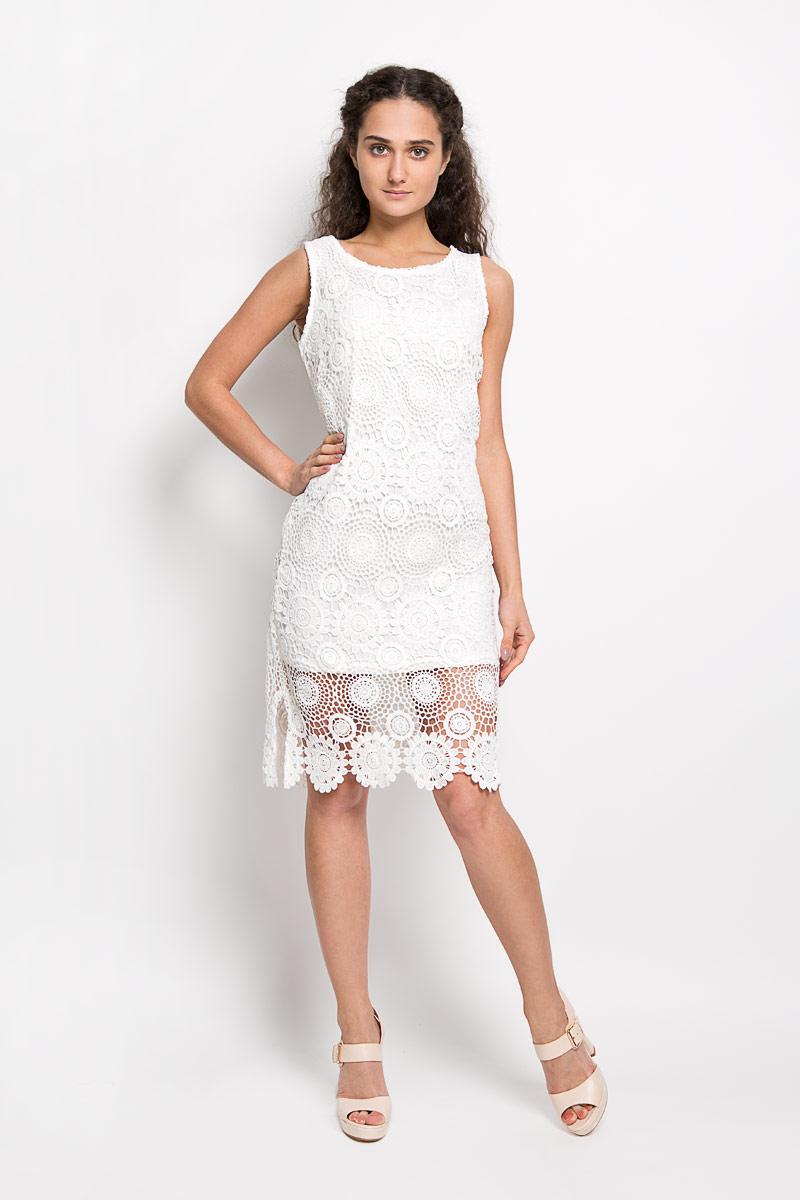 Платье Broadway Fabriana, цвет: белый. 10156370 001. Размер M (46)10156370 001Оригинальное вязаное платье Broadway Fabriana станет ярким и стильным дополнением к вашему гардеробу. Изделие выполнено из 100% полиэстера, приятное к телу, не сковывает движения и хорошо вентилируется.Модель с круглым вырезом горловины и без рукавов оформлена оригинальным узором. Это эффектное платье поможет создать привлекательный женственный образ.