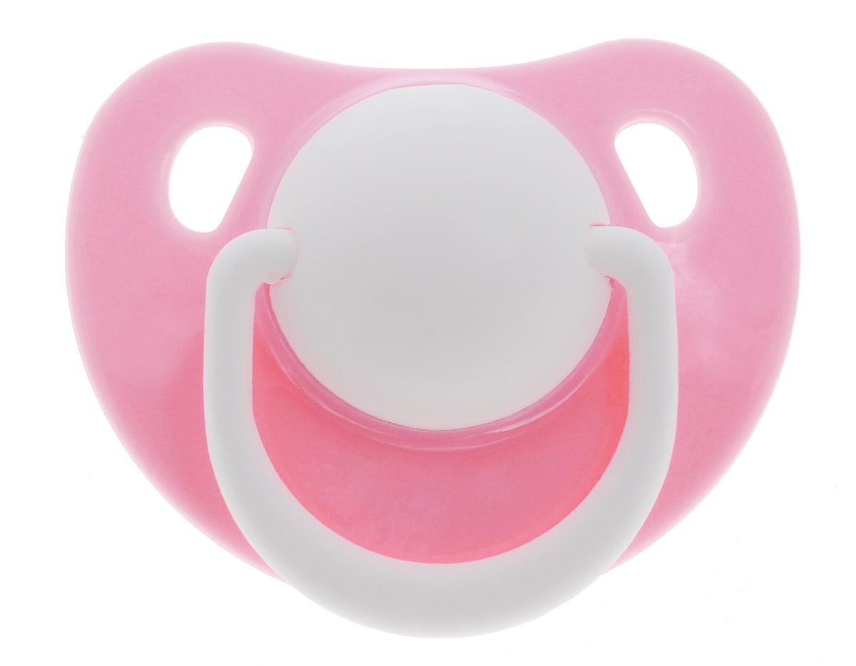 Lubby Пустышка силиконовая Классика от 0 месяцев цвет розовый