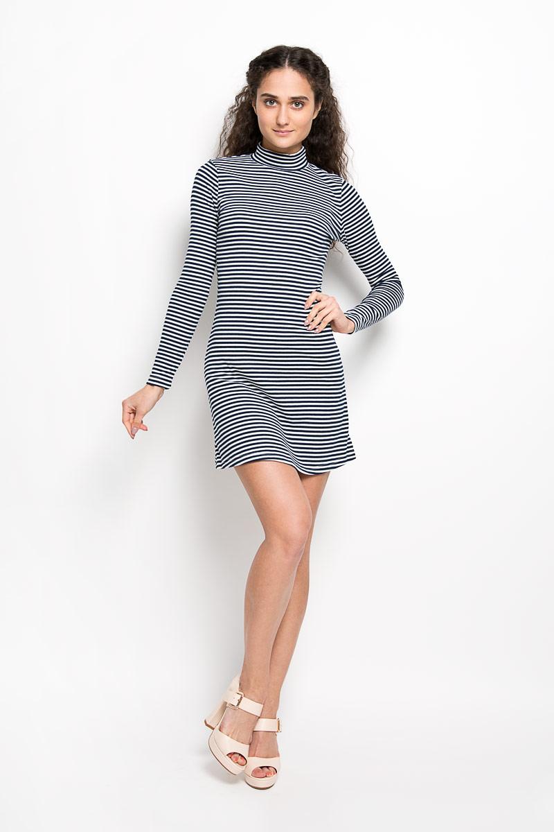 Платье Glamorous, цвет: белый, темно-синий. CK2926. Размер S (44)CK2926Оригинальное платье Glamorousстанет ярким и стильным дополнением к вашему гардеробу. Изделие выполнено из полиэстера с добавлением хлопка и эластана, приятное к телу, не сковывает движения и хорошо вентилируется.Модель длинными рукавами и воротником-стойкой. Платье оформлено принтом в полоску.Такое платье поможет создать яркий и привлекательный образ, в нем вам будет удобно и комфортно.