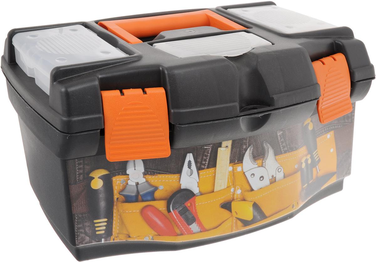 Ящик для инструментов Blocker Master Jeans 16, со съемным органайзером, 40,5 х 23 х 21,5 смBR3797ДЖЯщик Blocker Master Master Jeans 16 изготовлен из прочного пластика и предназначен для хранения и переноски инструментов. Вместительный, внутри имеет большое главное отделение. В комплект входит съемный лоток, оснащенный линейкой.Крышка ящика оснащена двумя съемными органайзерами и отделением для хранения бит. Закрывается при помощи крепких защелок, которые не допускают случайного открывания. Для более комфортного переноса в руках, на крышке ящика предусмотрена удобная ручка.