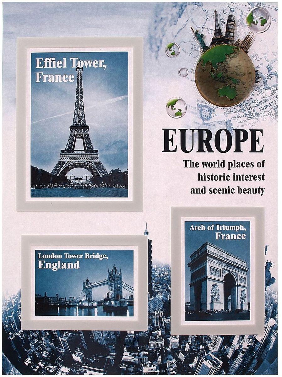 Room Decor Наклейка-фоторамка интерьерная Европа на 3 фото угловые шкафы в спальню фото маленькие