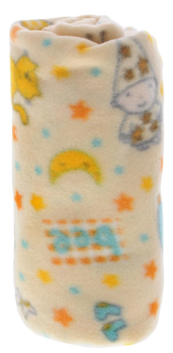 Споки Ноки Плед флисовый цвет бежевый голубой оранжевый 100 х 118 см споки ноки борт в кроватку с органайзером облака цвет голубой