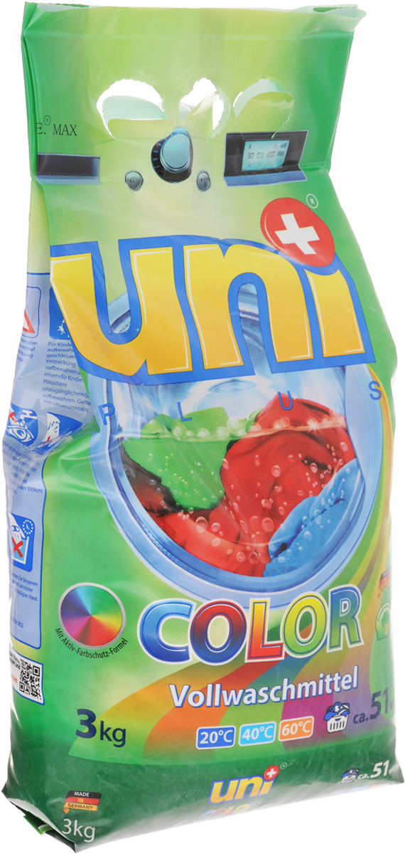 Порошок стиральный Uniplus Color, для цветных вещей, 3 кг200711Cтиральный порошок Uniplus Color предназначен для стирки цветных изделий из хлопчатобумажных, льняных, синтетических тканей и тканей из смешаннх волокон, тонких и быстролиняющих изделий. В состав входят цветозащитные компоненты, сохраняющие яркость цветов. Эффективно отстирывает при температурах от 20°С до 60°С. Содержит смягчающие воду вещества, защищающие машину т образования известкового налета. Не содержит хлора и фосфатов. Подходит для всех типов стиральных машин и ручной стирки.Состав: (5-15%) анионные ПАВ, цеолиты, (менее 5%) неионогенные ПАВ, мыло, фосфонаты, стабилизатор цвета, энзимы, ароматизатор.Товар сертифицирован.