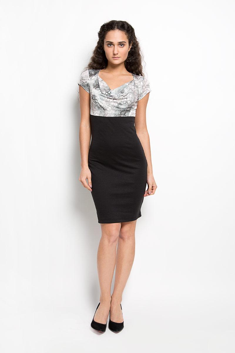 Платье Karff, цвет: черный, серо-зеленый, белый. LD 003-04. Размер L (48) джемпер мужской karff цвет зеленый желтый 88000 06 размер xxl 56